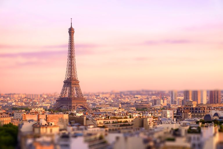 Sunset over Eiffel tower in Paris