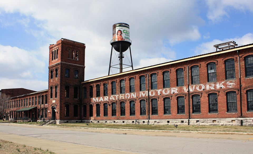 The outside of the Marathon Motor Works village as it stands today.