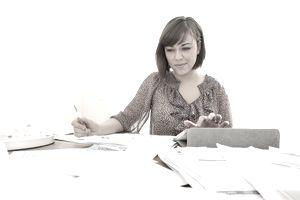 Woman doing taxes
