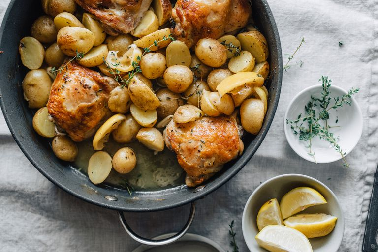 Chicken and potatoes in skillet