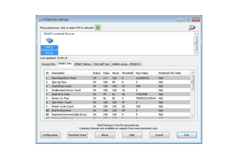 Screenshot of DiskCheckup in Windows 7