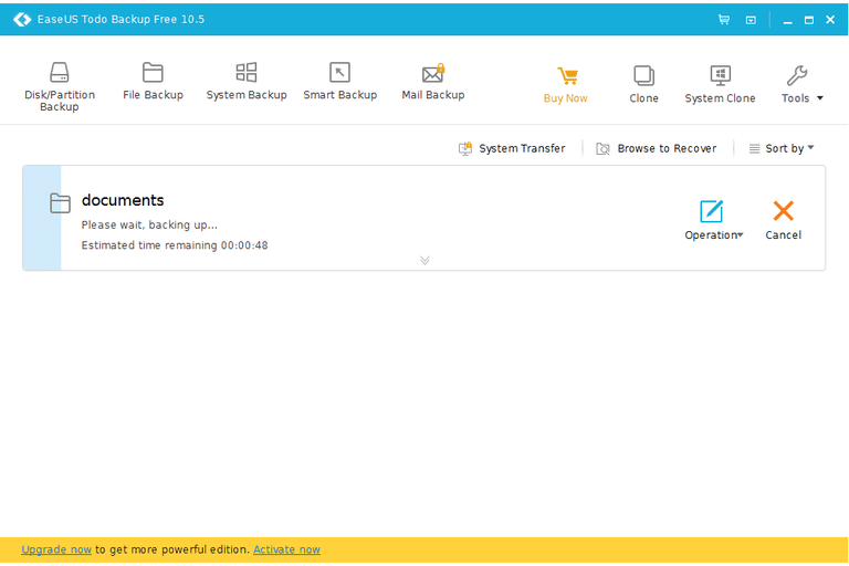 Screenshot of EaseUS Todo Backup Free v10.5 in Windows 10