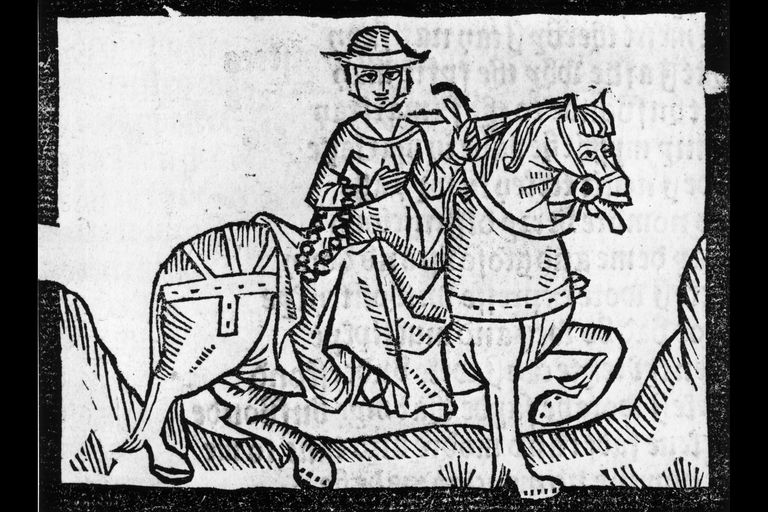 The Wife of Bath, from Chaucer's Canterbury Tales, from a 1492 edition