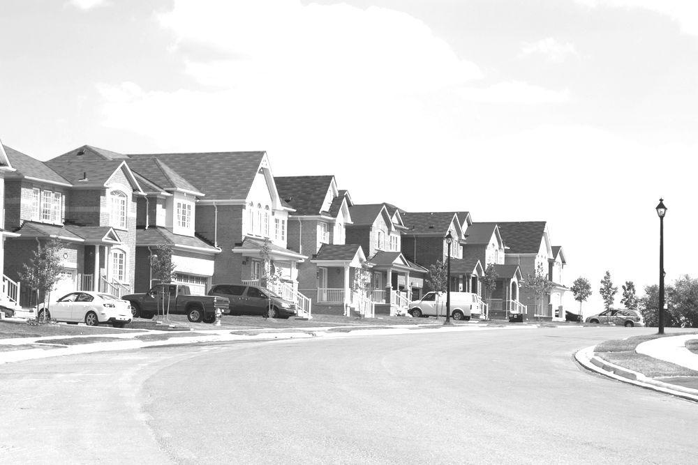 Suburbia. Subdivision street in Newmarket, Ontario, Canada.