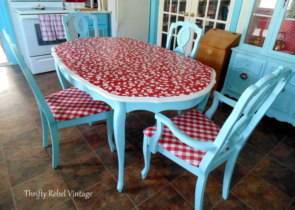 red and blue kitchen table decoupage