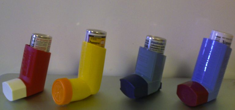 "The available ""rescue"" inhalers available for the treatment of acute asthma symptoms. From left to right, ProAir HFA (albuterol), Proventil HFA (albuterol), Ventolin HFA (albuterol) and Xopenex HFA (levalbuterol)"