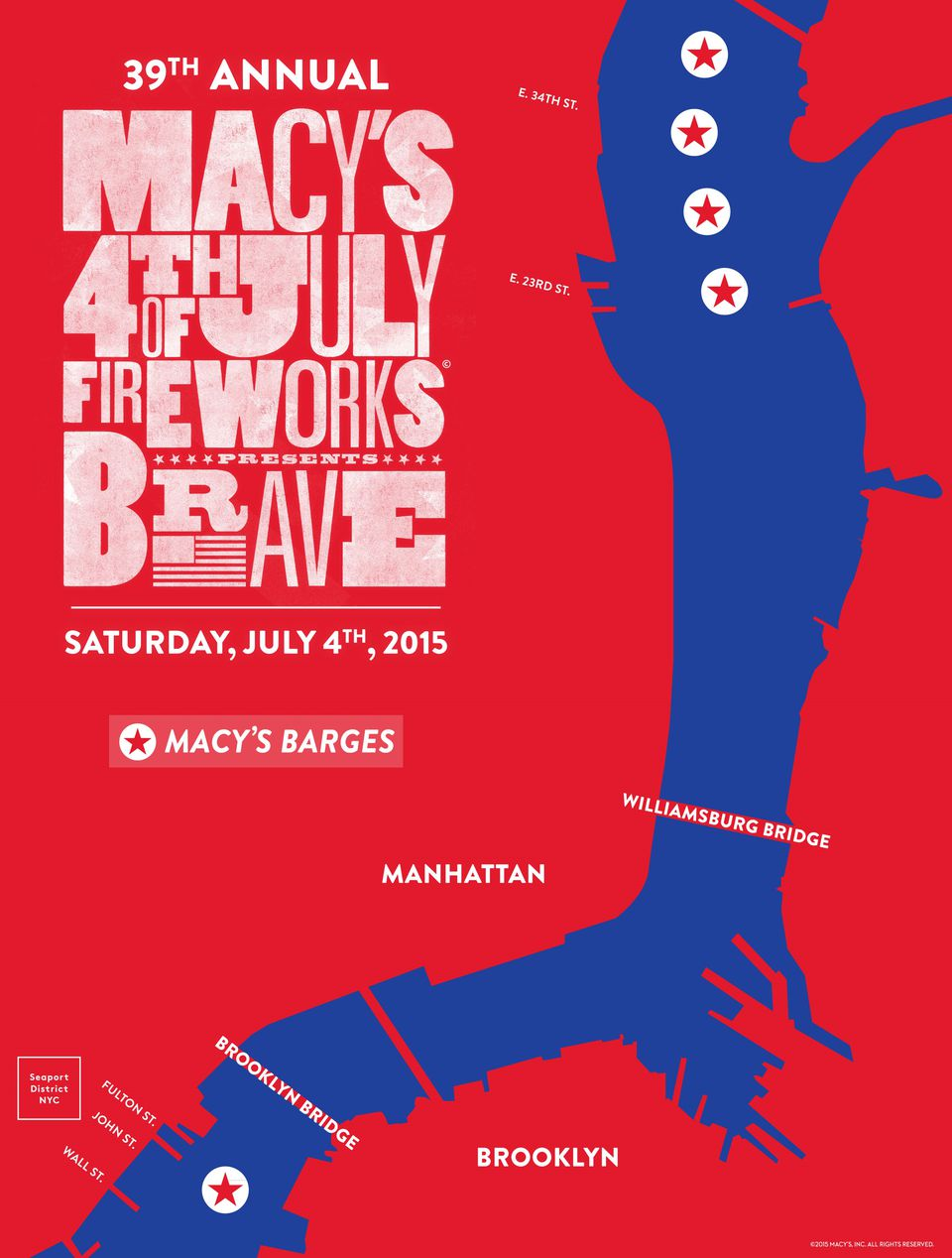 2015 NYC 4th of July Fireworks Map