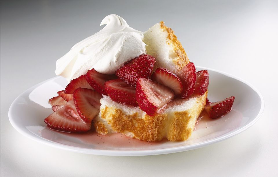 Angel Food Cake Topped with Fresh Sliced Strawberries