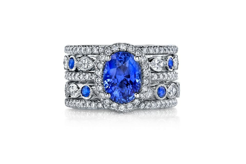 three sapphire p white gold rings and large diamond stone ring context
