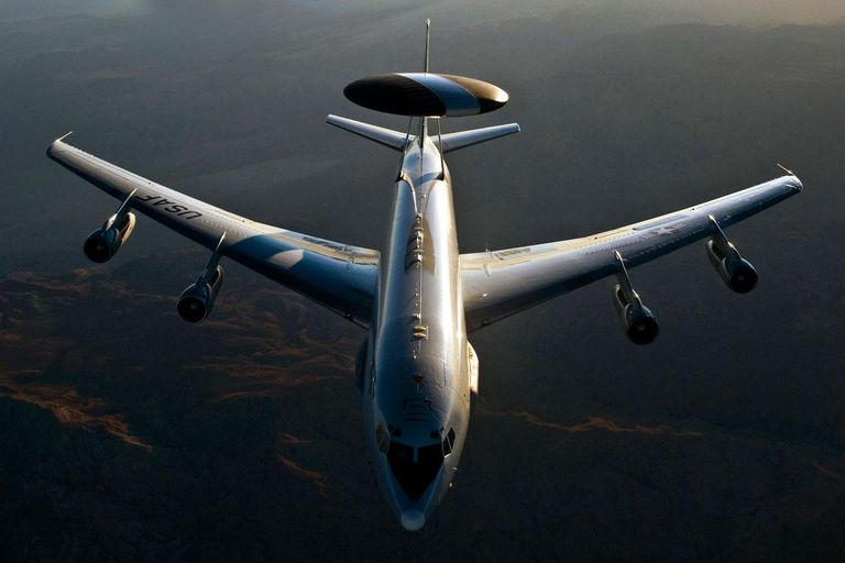 A U.S. Air Force E-3 Sentry airborne warning and control system aircraft (AWACS) flies over the National Training Center at Fort Irwin, Calif., Aug. 16, 2011, during Green Flag-West 11-9. The E-3 is assigned to the 965th Airborne Air Control Squadron at Tinker Air Force Base, Okla.