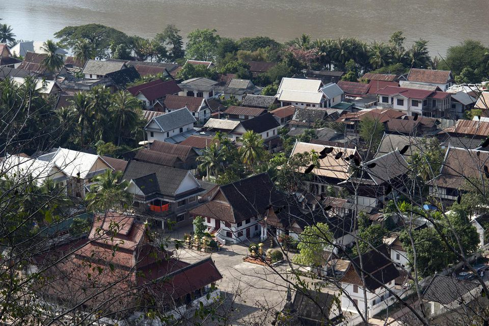 Northern Laos, Luang Prabang (Luang Phabang), view of the town and Mekong River from part-way up Mount Phou Si (Mount Phu Si)