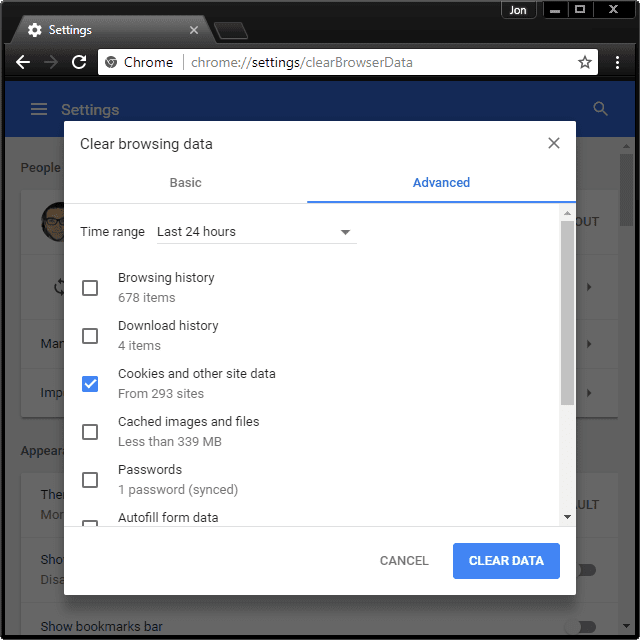 Screenshot showing how to delete cookies in Chrome