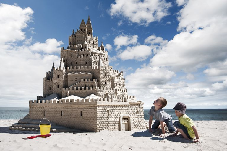 sand castle and kids