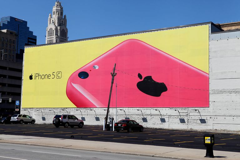 iPhone Banner on Building Wall