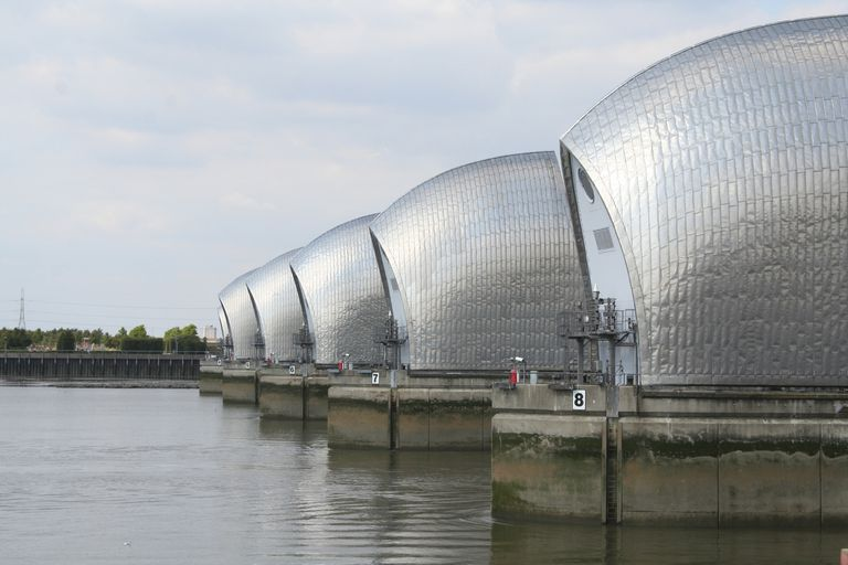 The Thames Barrier prevents flooding along the Thames River in England