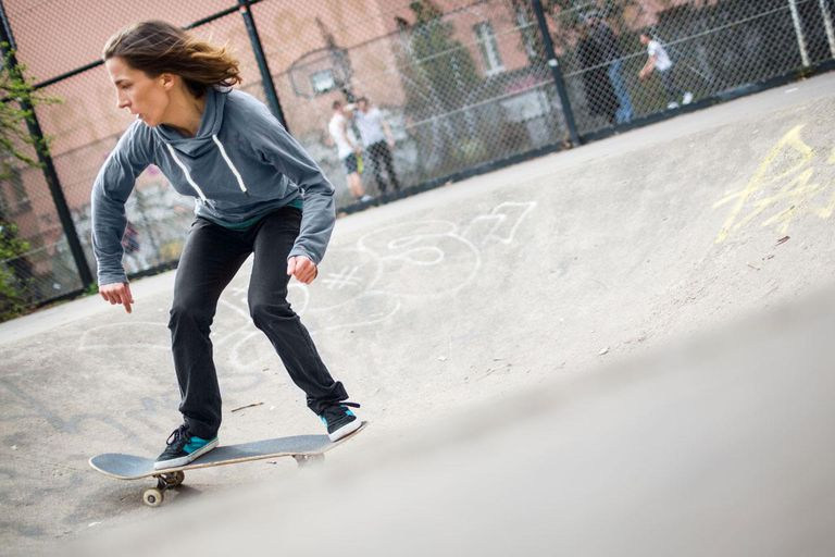 Skater girl at an urban skate park