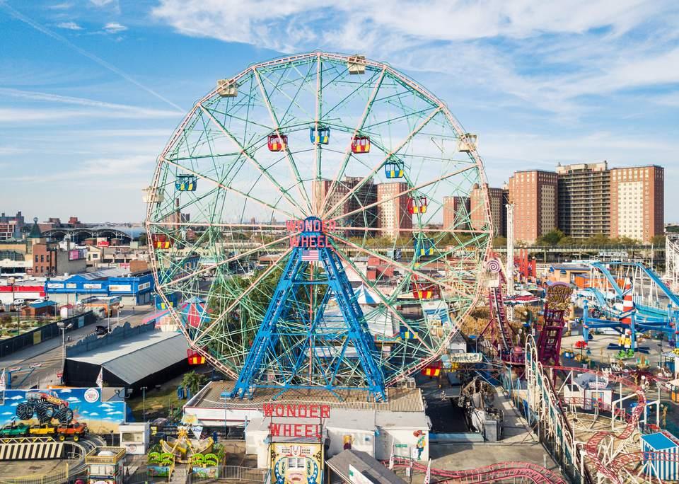Wonder wheel at Coney island amusement park aerial view