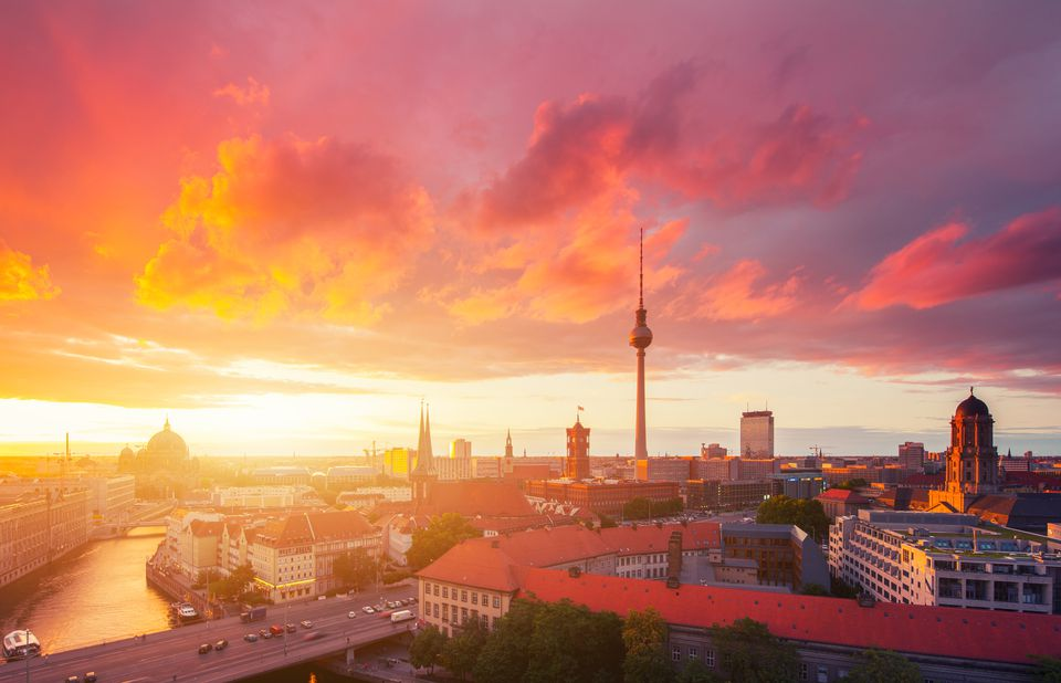 The Berlin cityscape at sunset.