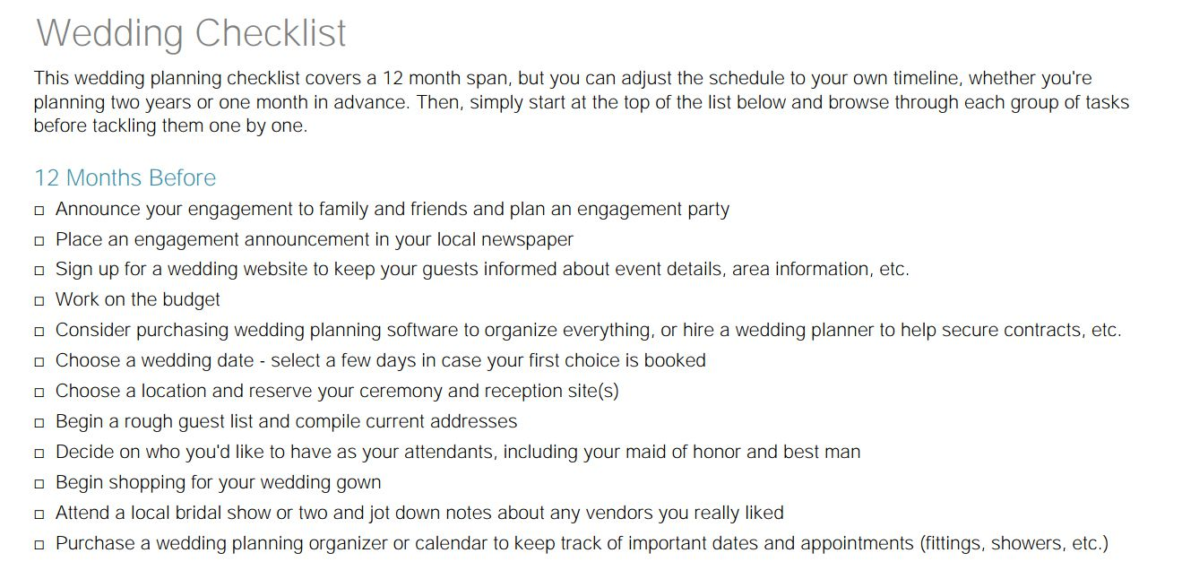 Free Printable Checklists For Your Wedding Timeline - Wedding planning timeline template