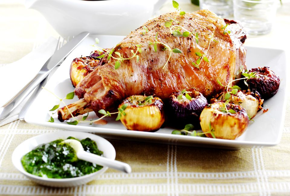 New Zealand lamb with baked onions