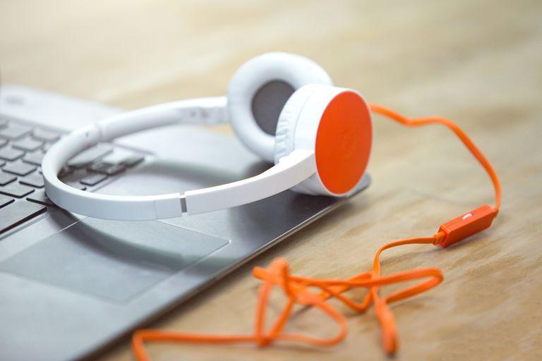 Headphones Computer. Online Music Listening. Music Concept.