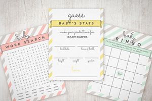A collection of printable baby shower games
