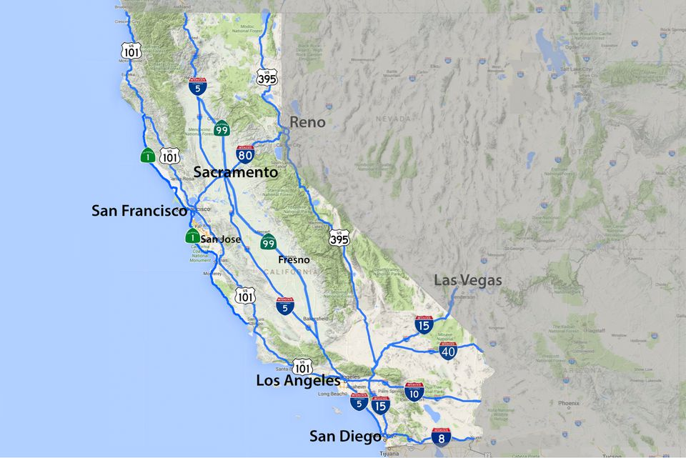 California Road Map Highways And Major Routes - California road map