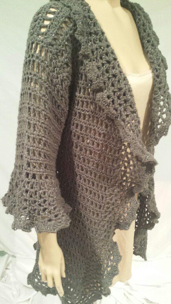 Pewter Ruffled Cardigan Free Crochet Pattern