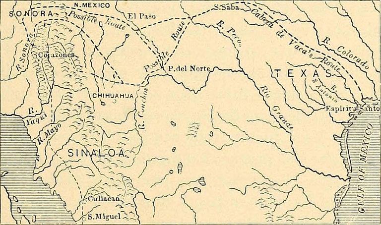 route of Cabeza de Vaca, accompanied by Estevanico