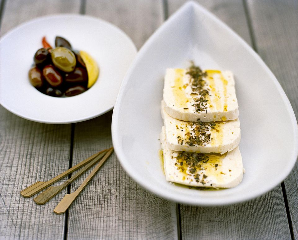 Feta with Olive Oil, Herbs, and Olives