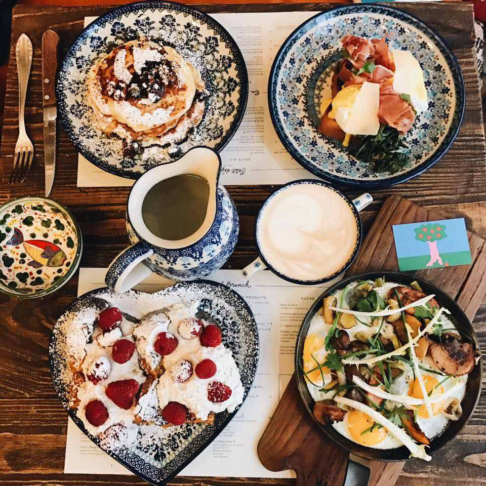 Four brunch dishes at BigLove Caffe in Paris
