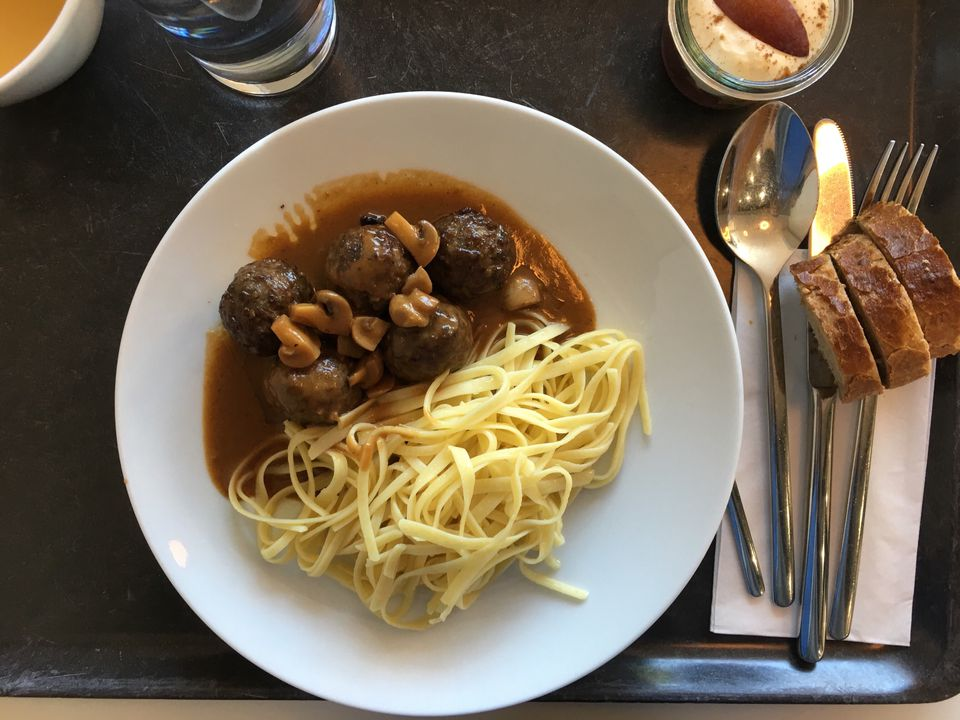 Directly Above Shot Of Noodles Served With Meatballs On Table