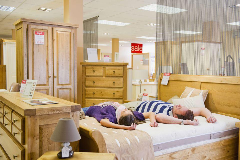 Couple mattress shopping