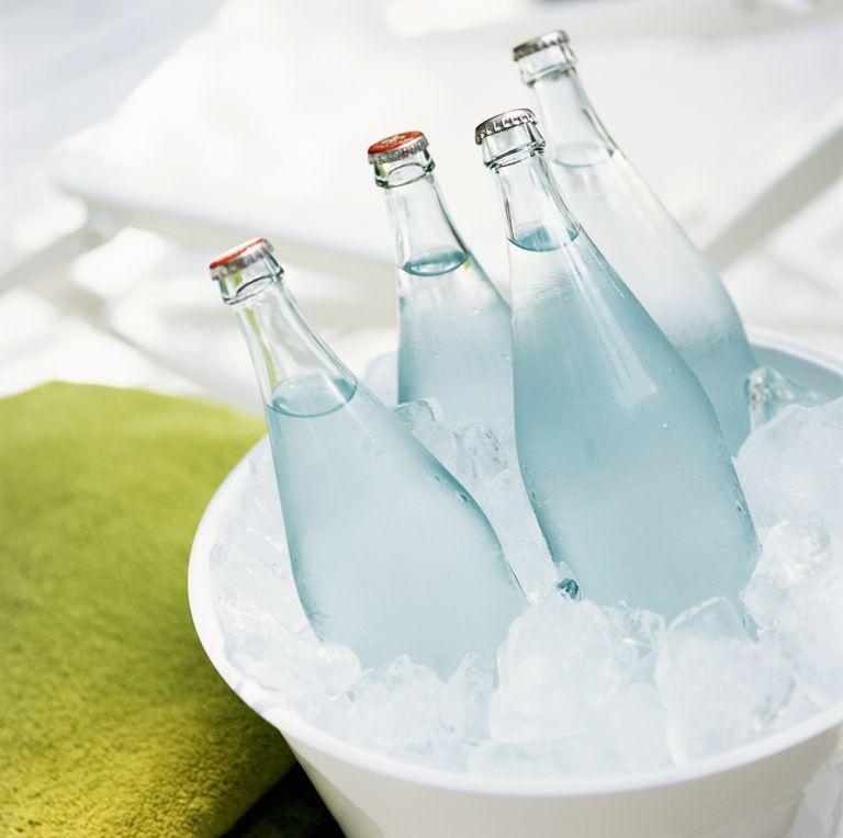 Water bottles in ice bucket