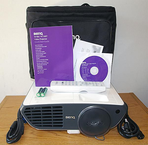 BenQ W710ST DLP Video Projector - Front View With Accessories