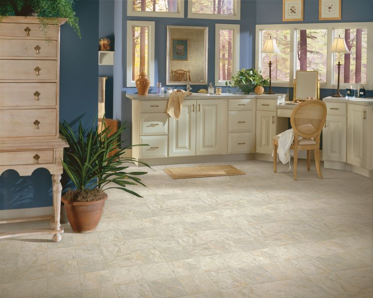 bathroom flooring. The versatility and economical nature of vinyl make it a very popular  flooring choice in bathrooms While is not impervious to the rigors this Vinyl Sheet Tile Bathroom Flooring