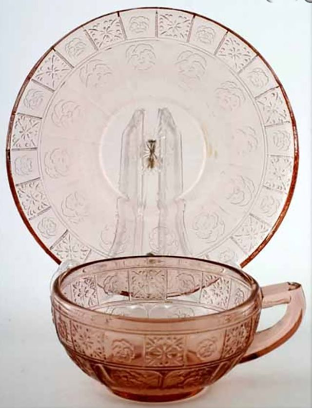 Doric and Pansy Child's Depression Glass Cup and Saucer