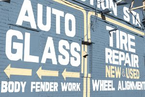 auto glass sign, tire repair sign, bodywork