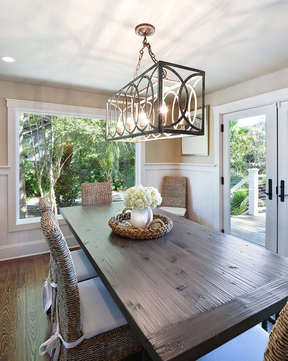 Hanging a dining room chandelier at the perfect height for Dining room light height
