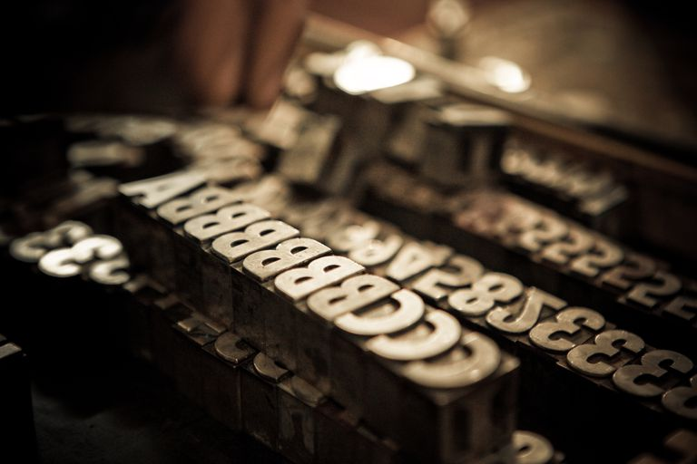 Metal Letter and Number Blocks for Printing Press
