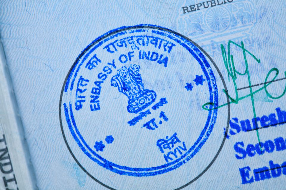 Indian embassy stamp in a passport