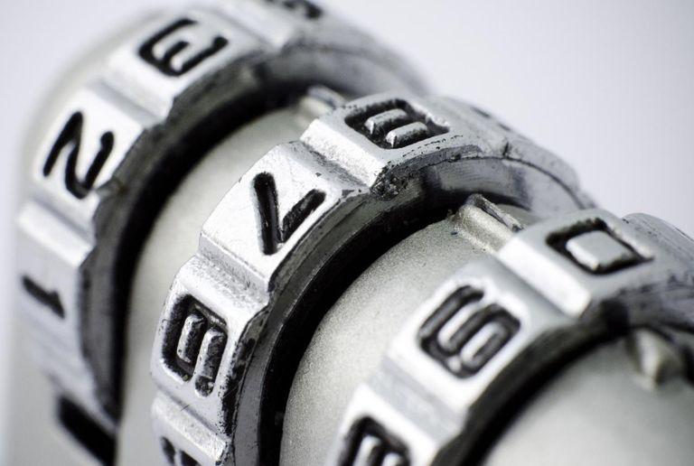 Closeup of a combination padlock