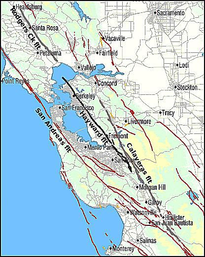 Hayward fault map