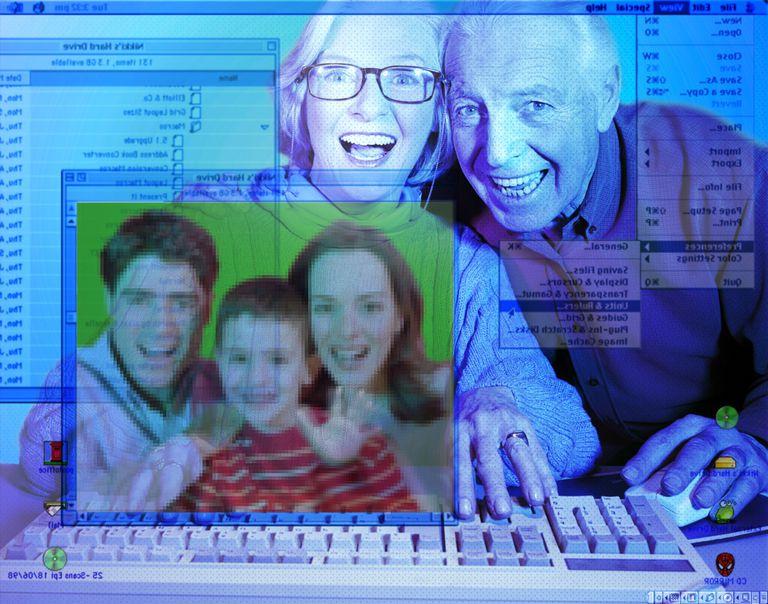 People communicating via computer.
