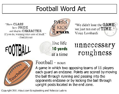 Free Football Word Art for Titles and Journaling on Scrapbook Pages.