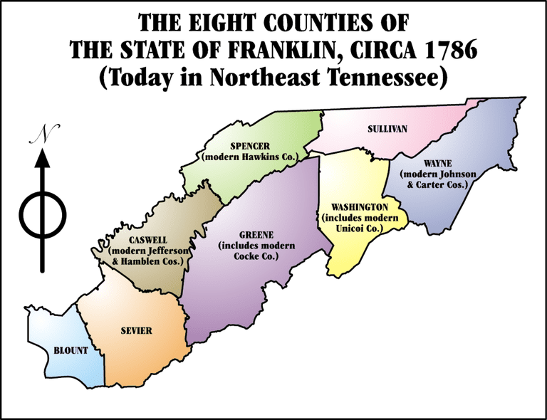 Map showing the 8 counties of the Lost State of Franklin