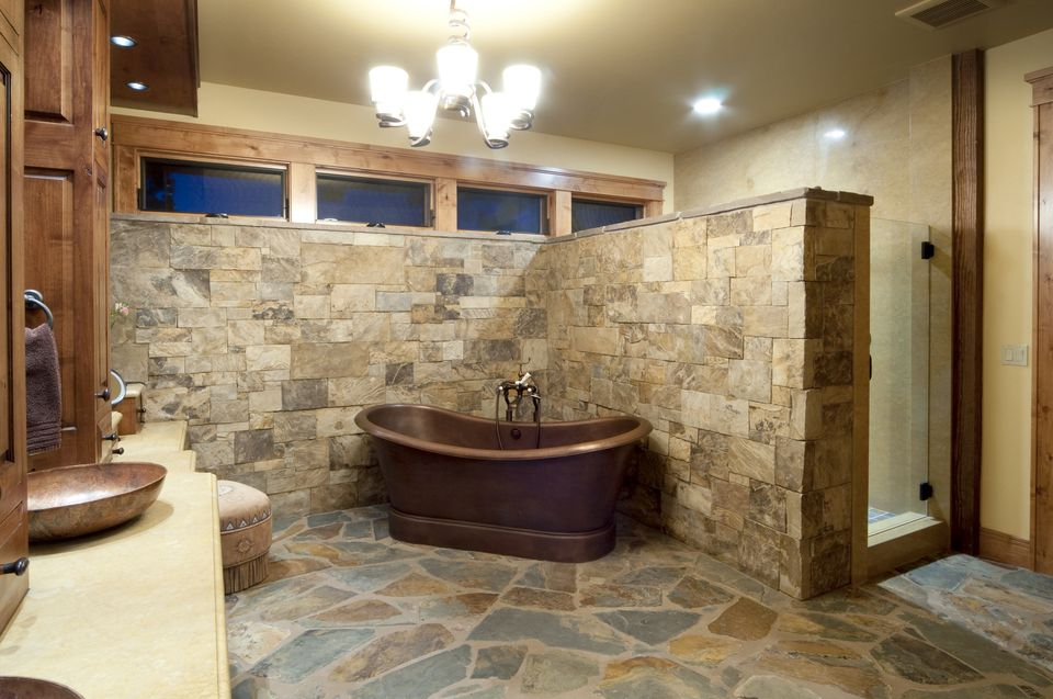 Brick Flooring Pavers In a Bathroom