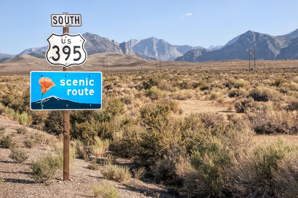 Driving on Scenic Highway 395 in Eastern California