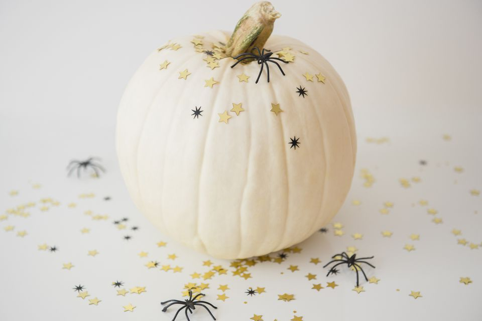 A decorated pumpkin