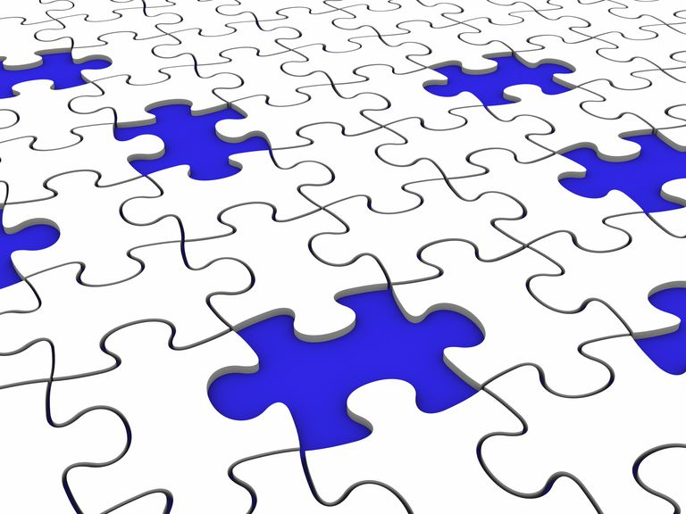 Picture of a puzzle with missing pieces